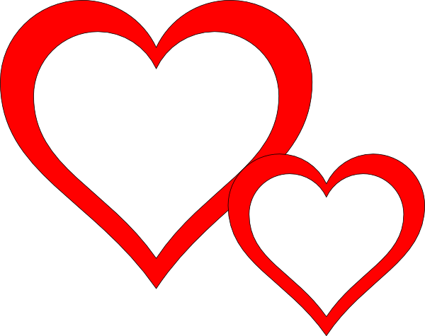 Two Heart Black And White Clipart Images