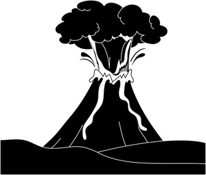 Volcano Clipart Image Erupting Volcano Silhouette