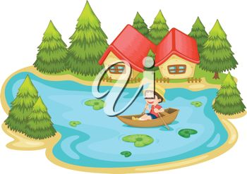 1 0 0 5 Clip Art Image Of A Boy Rowing His Boat On A Lake Clipart Image