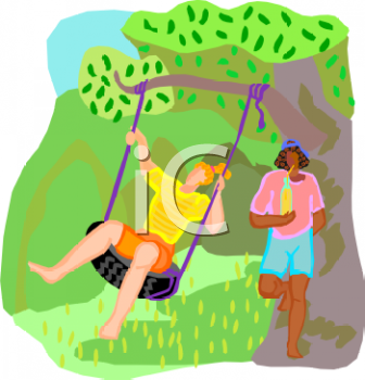 1 1 0 4 Girls Swinging In The Park Clipart Image