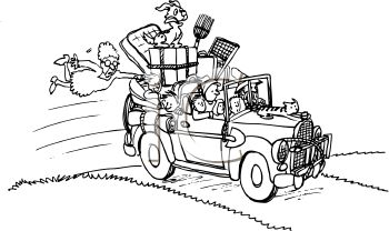1 2 6 4 Hillbilly Family With All Their Possessions In Their Car Clipart Image