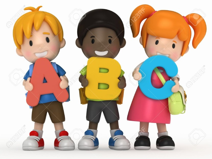 3d Render Of School Kids Holding Abc Stock Photo Picture And