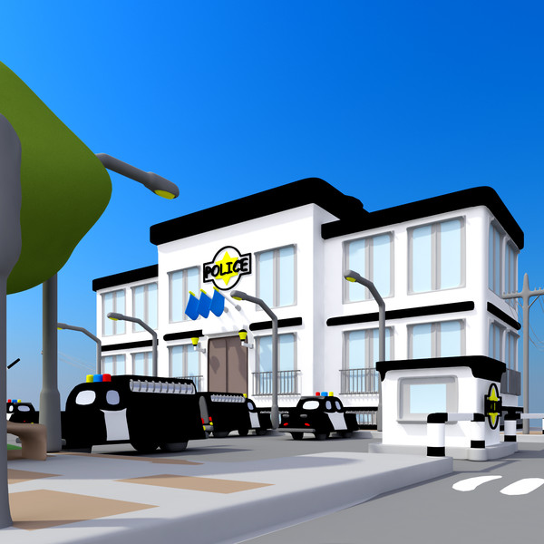 3dsmax Cartoon Police Station Car