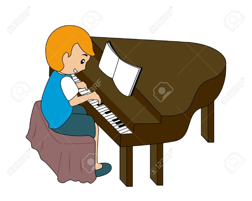 5 Child Playing Piano Stock Vector Cartoon