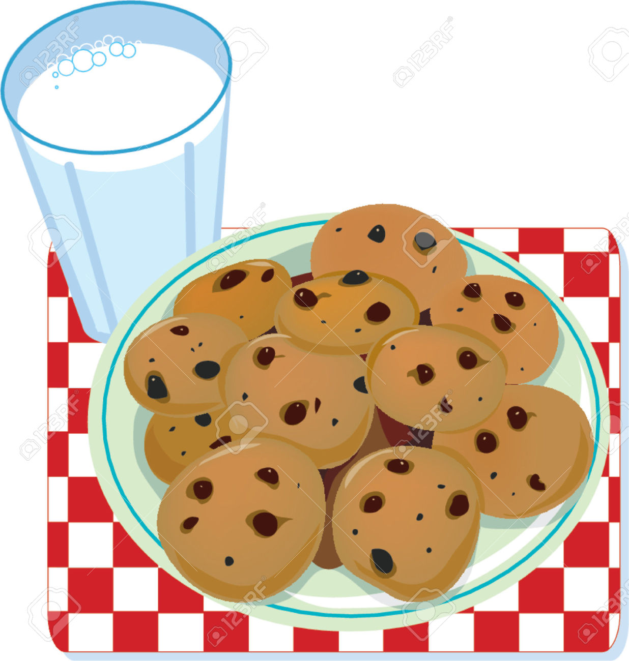A Glass Of Milk And A Plate Of Cookies Royalty Free Cliparts