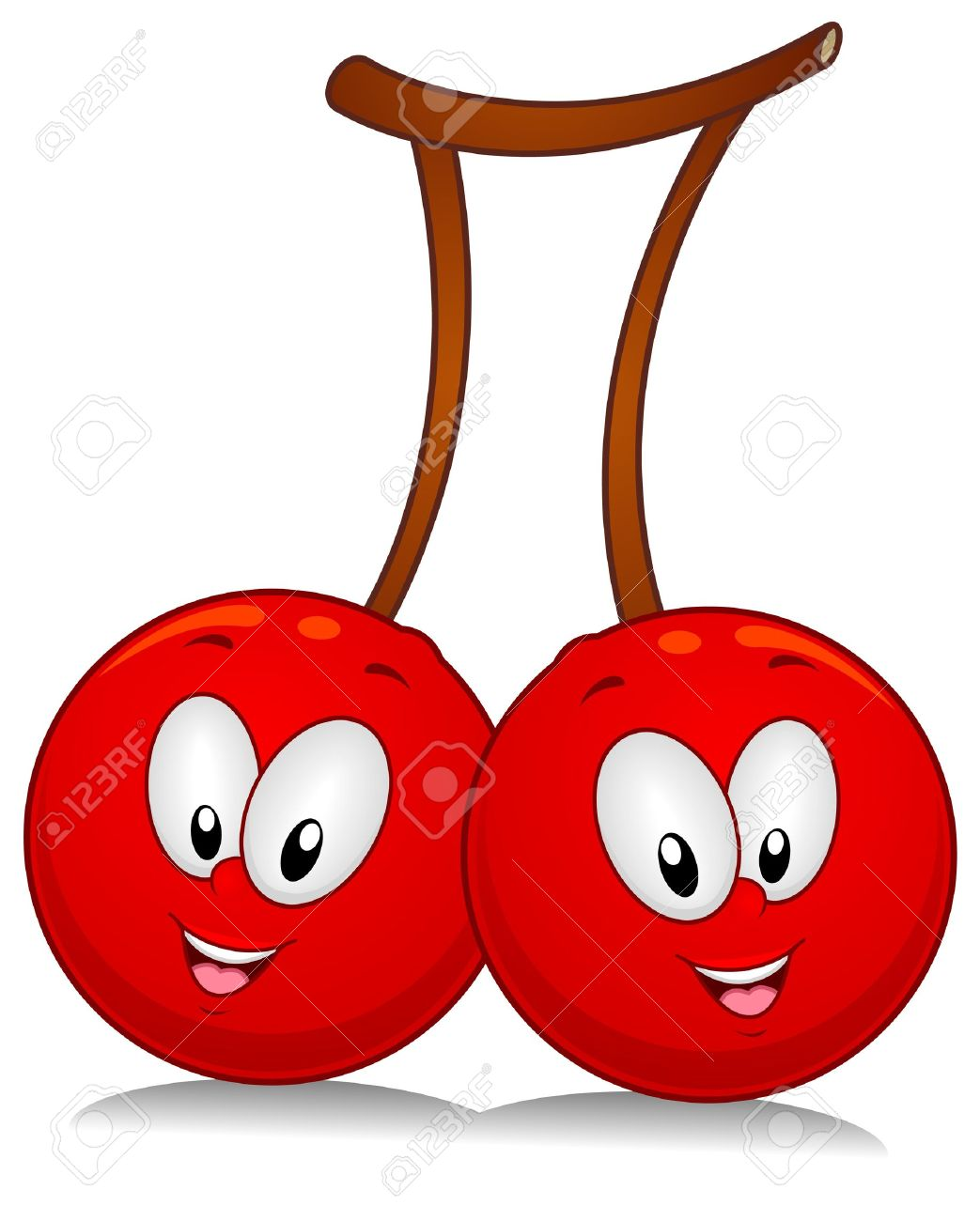 A Pair Of Cherry Characters Poised Sideside Stock Photo
