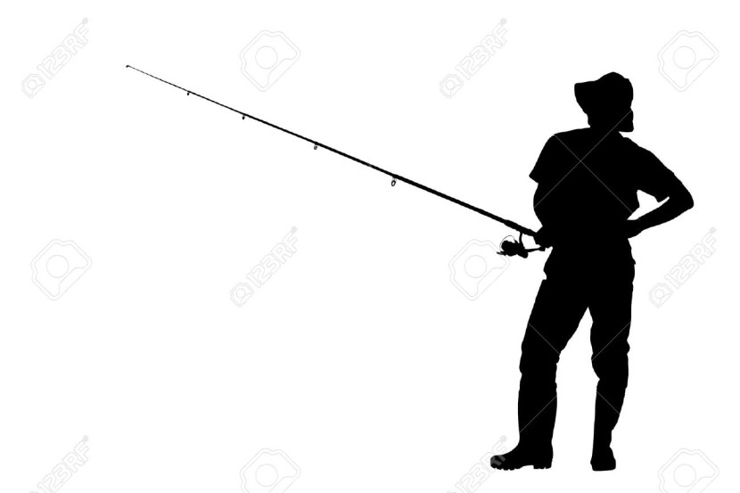 A Silhouette Of A Fisherman Holding A Fishing Pole Isolated