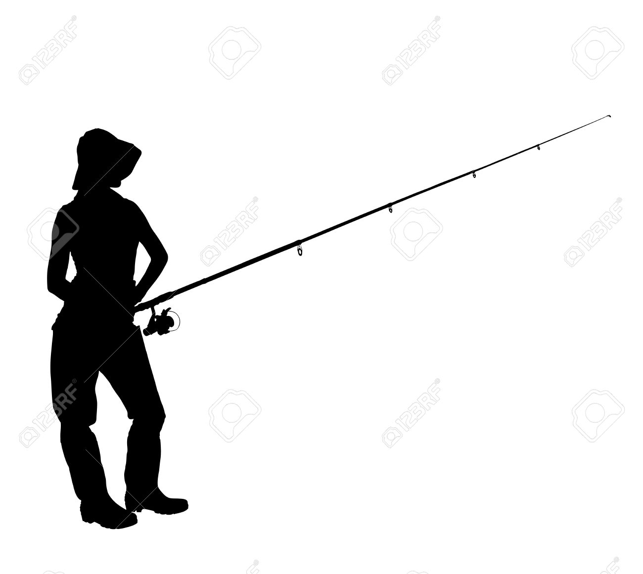 A Silhouette Of A Fisherwoman Holding A Fishing Pole Isolated