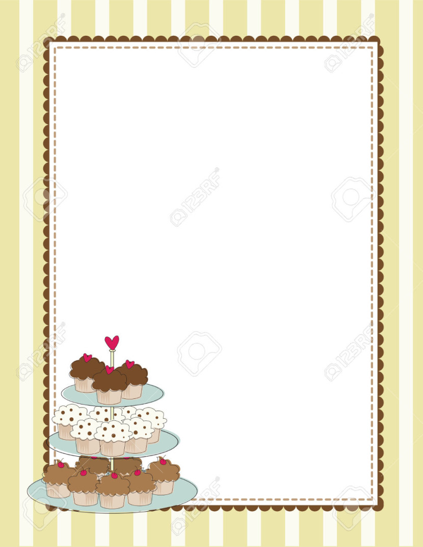 A Striped Border With A Tiered Tray Of Cupcakes Royalty Free