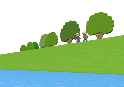 Along River Walk Elderly Illustration Free Material Clipart Free