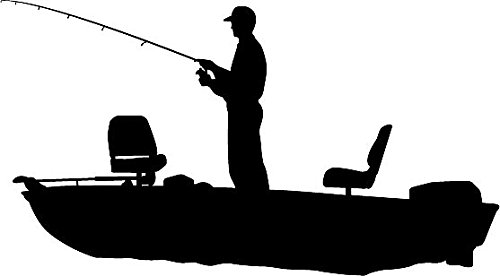 Amazon Com 6 Quot White Vinyl Fisherman Bass Fishing Boat Silhouette
