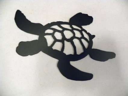 Amazon Com Turtle Swimming Silhouette Black Metal Wall Art Home