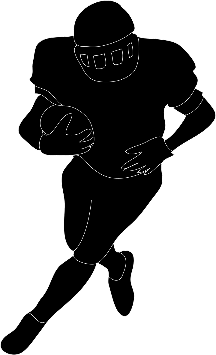best football player clipart black and white 21019 clipartion com