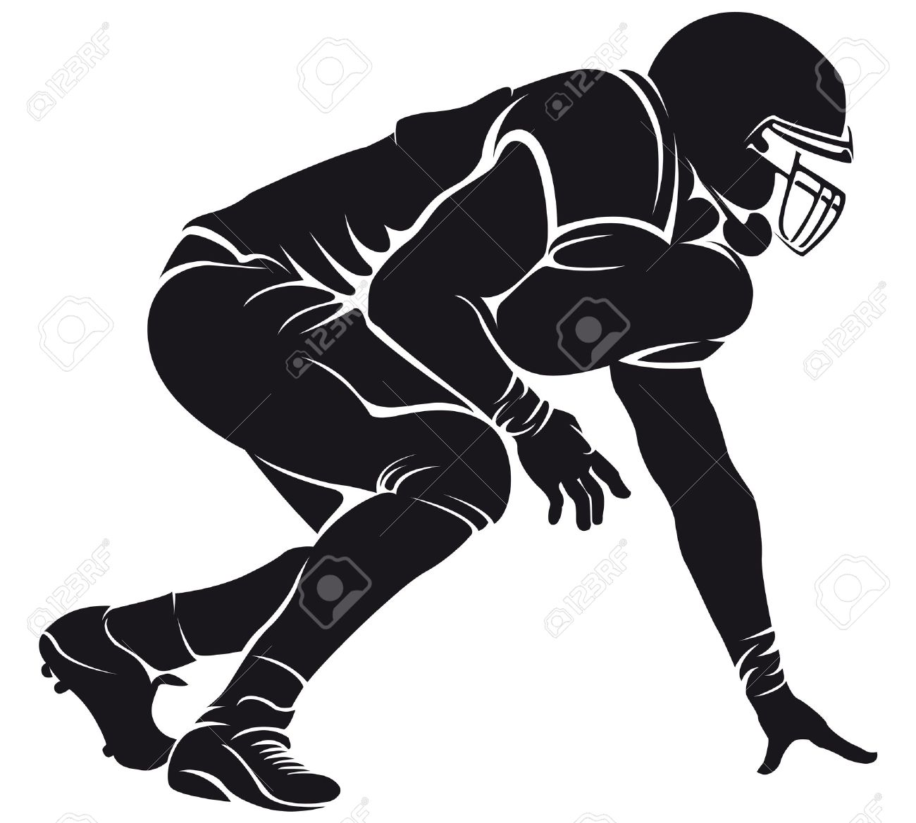American Football Player Silhouette Royalty Free Cliparts