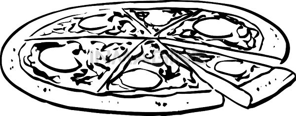 An Black And White Illustration Of A Whole Pizza Clipart Free