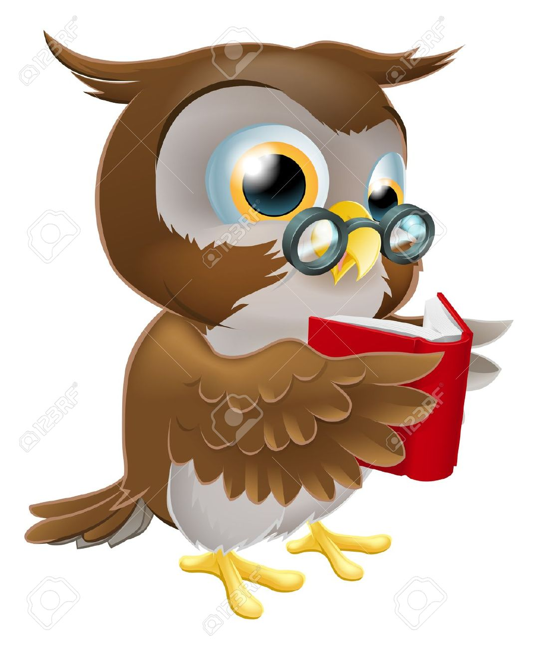 An Illustration Of A Cute Wise Cartoon Owl Character Wearing