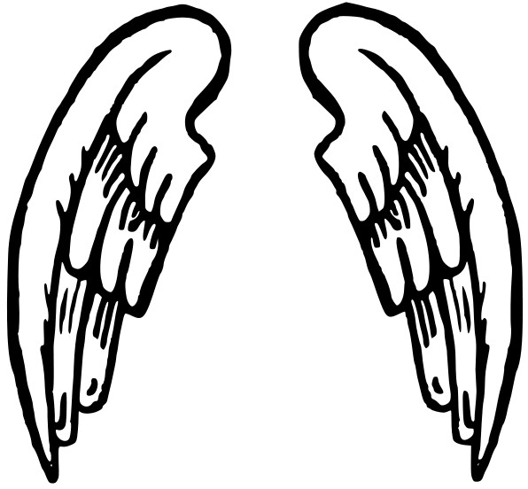 Angel Wings And Halo Clip Art Black And White