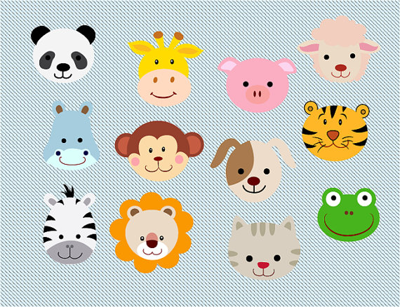 Animals Face Clip Art Panda Pig Giraffe Sheepmarimauvector