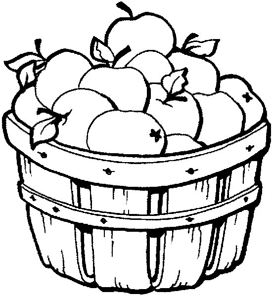 Apple Basket Coloring Page Free Clipart Images