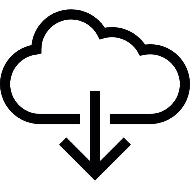Arrow Down Inside A Cloud Outline Icons Free Download