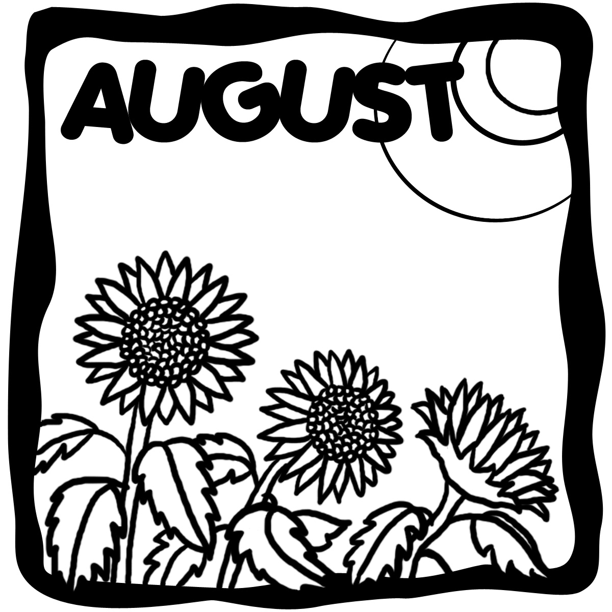 August Clip Art Illustration Grayscale Month Of August