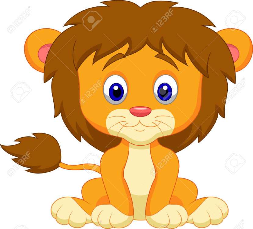 Baby Lion Cartoon Sitting Royalty Free Cliparts Vectors And