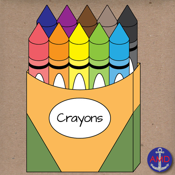 Back To School Crayons Clip Art School Suppliesanchormedesigns