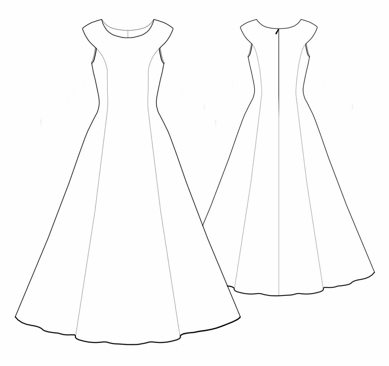 Best wedding dress outline 10143 for Wedding dress patterns free download