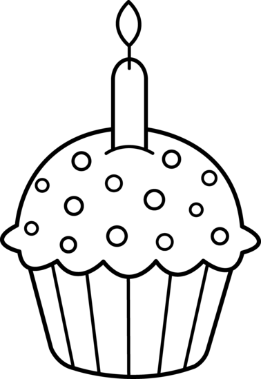 Birthday Cupcake Coloring Page Free Clip Art