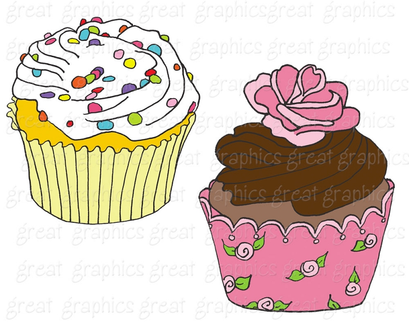 Birthday Party Printable Cupcake Clip Art For Invitations