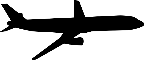 Black And White Airplane With Banner Clipart