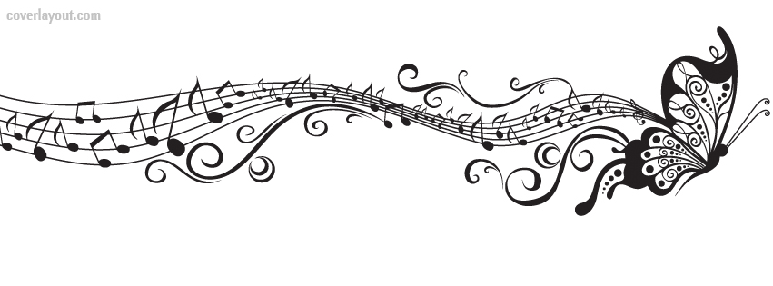 Black And White Buttefly Music Notes Facebook Cover Black And