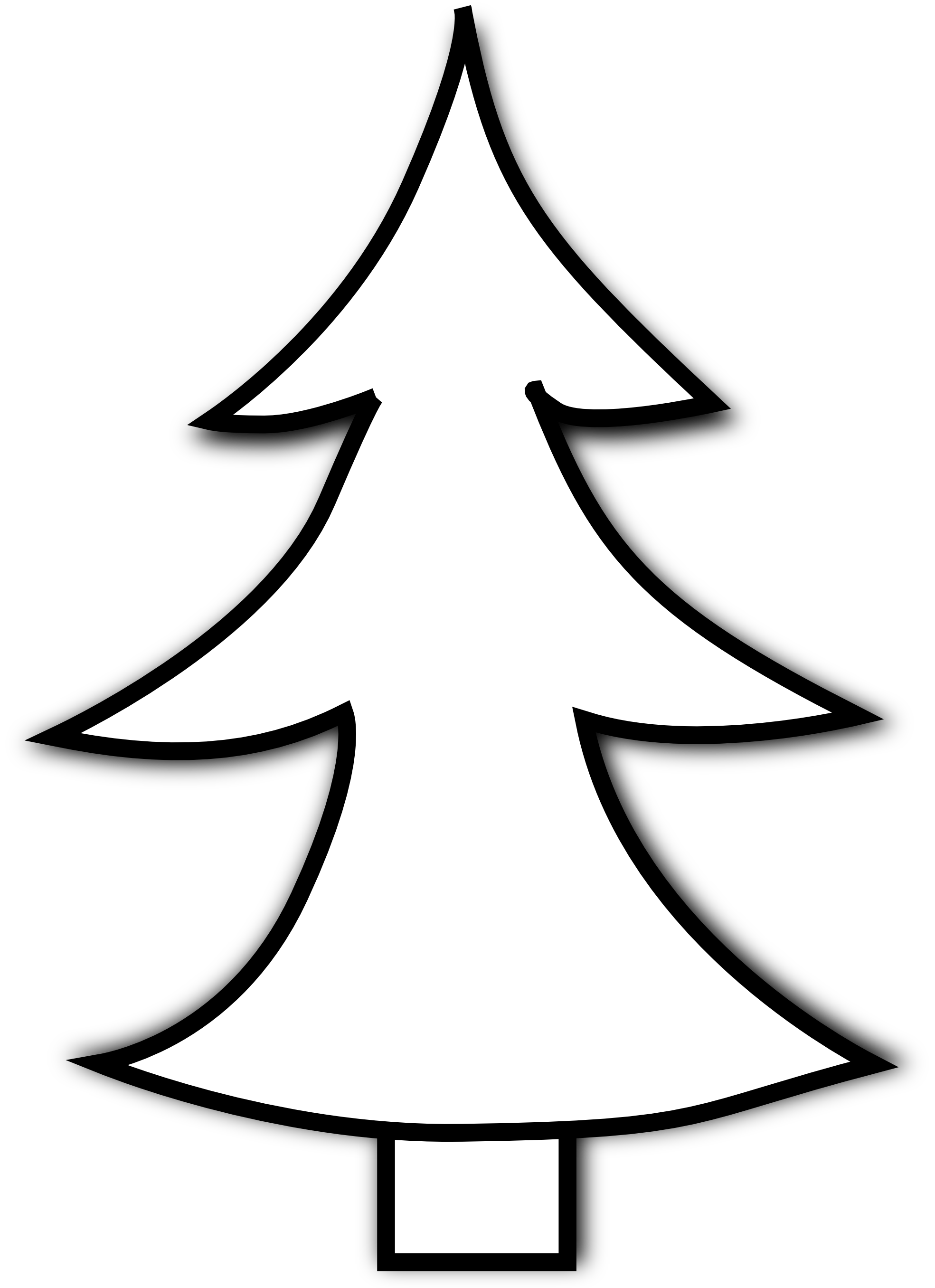 Best christmas tree clipart black and white 14636 for Free online drawing