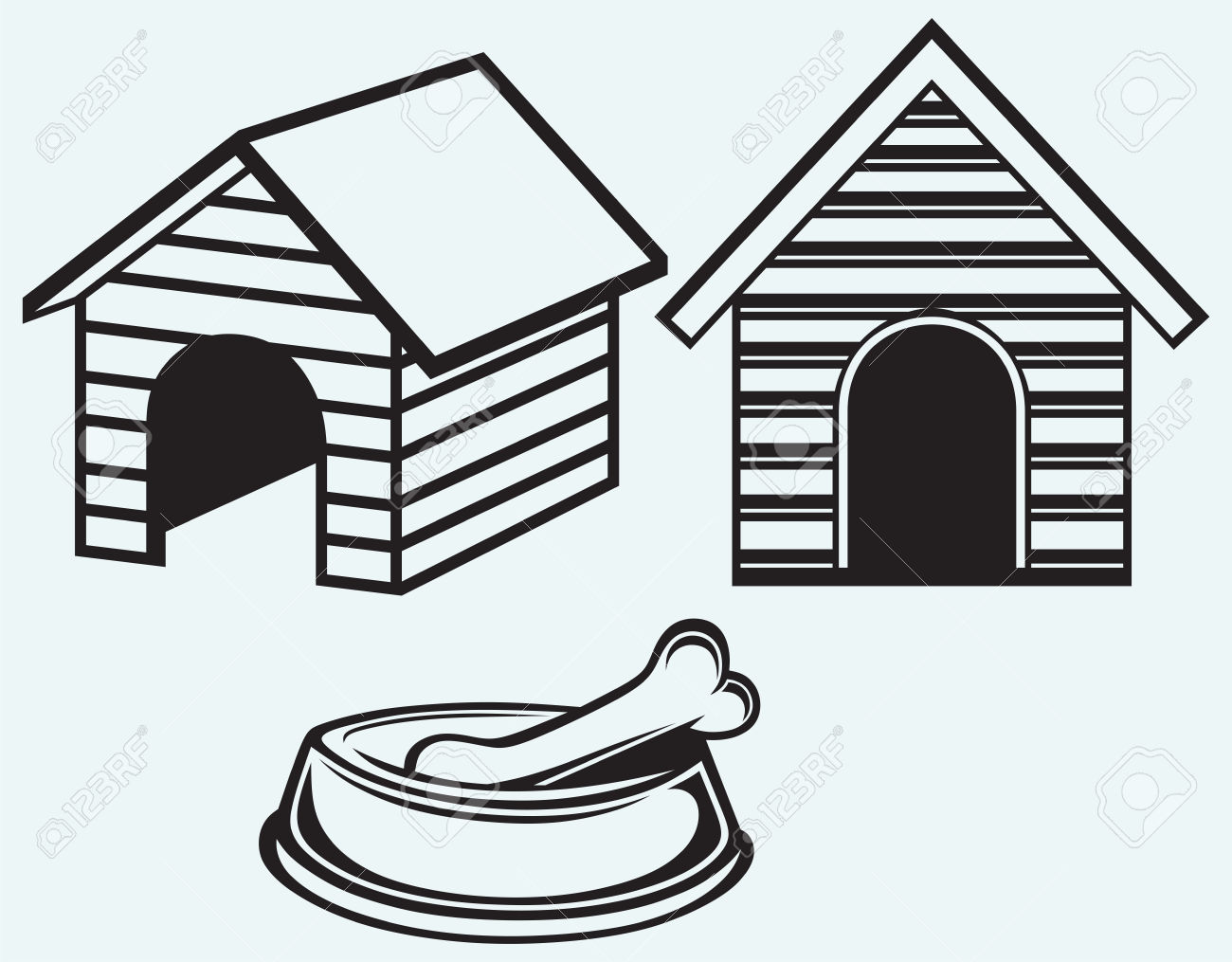 Dog House Clip Art Black And White | Dog Clipart