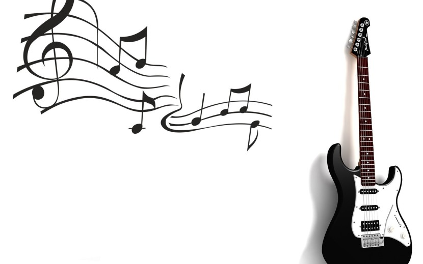 Black And White Guitar Music Notes Wallpaper Id 0 Download