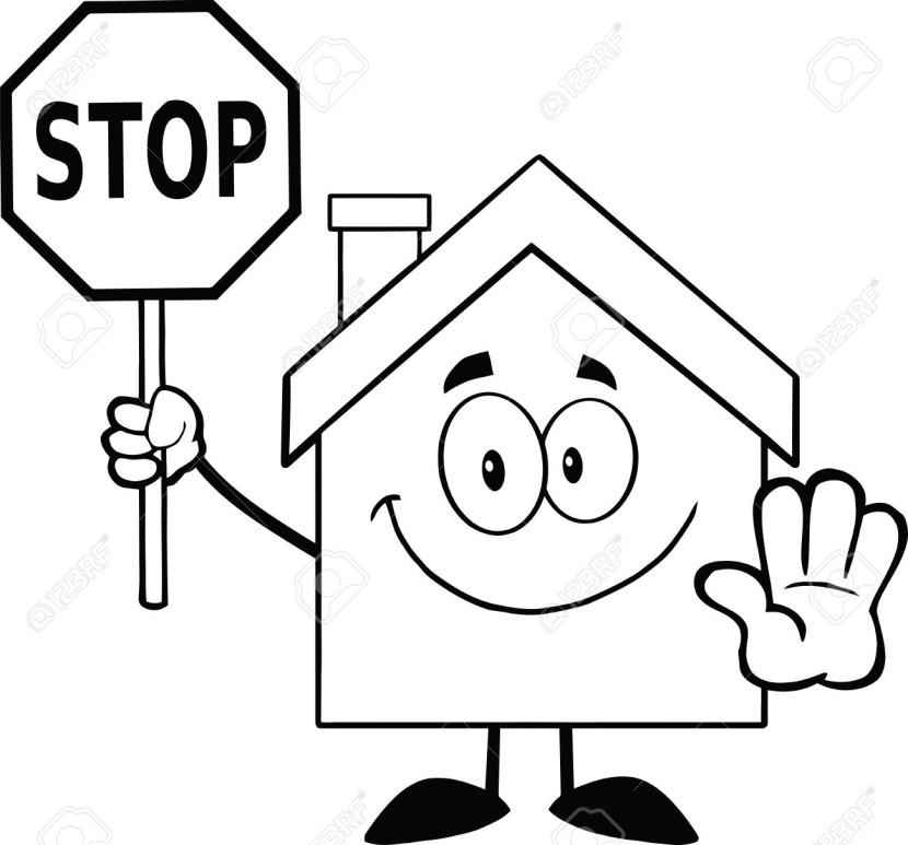Black And White House Cartoon Character Holding A Stop Sign