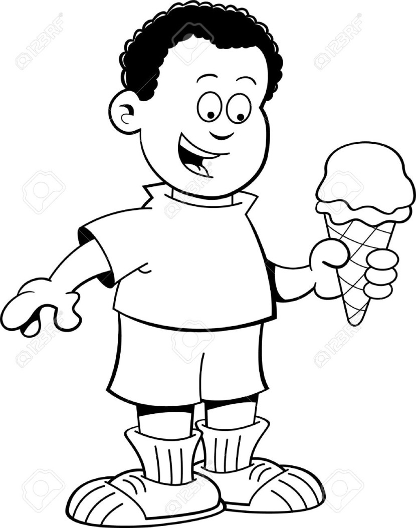 Black And White Illustration Of An African Boy Eating An Ice