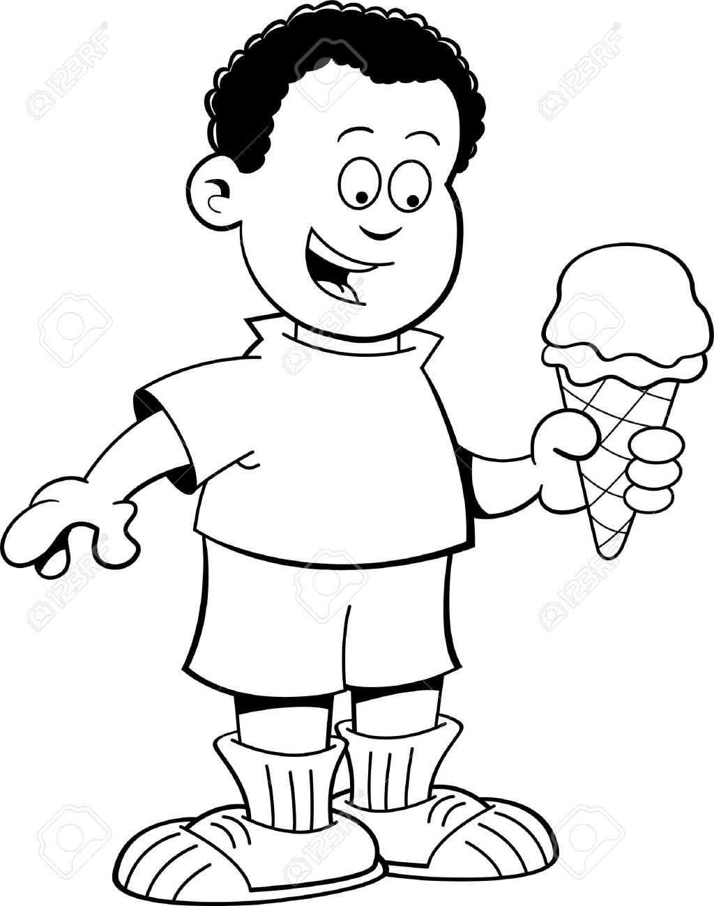 Black And White Illustration Of An African Boy Eating Ice