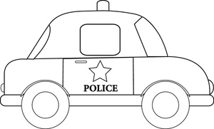 Black And White Line Drawing Of A Cartoon Style Police Car 5 5 4 1 Smu
