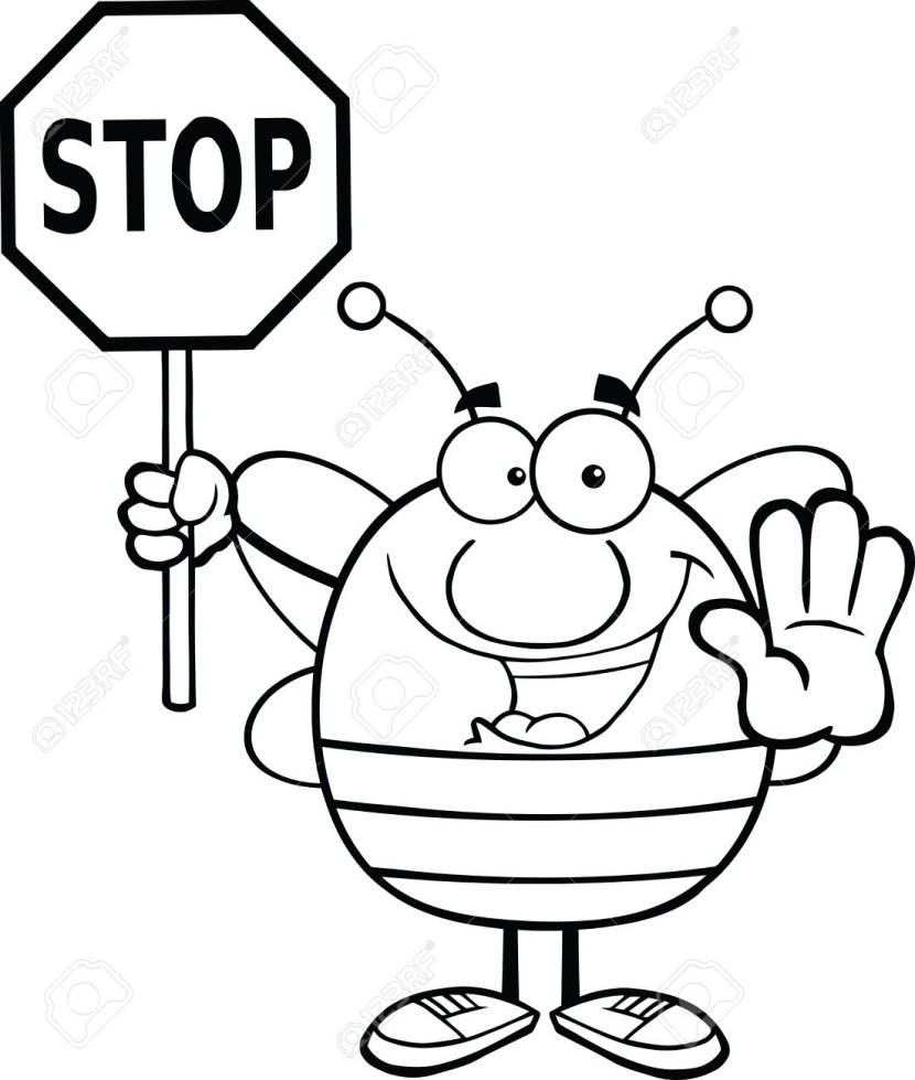 Black And White Pudgy Bee Holding A Stop Sign Royalty Free