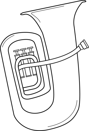 Black And White Tuba Design Free Clip Art