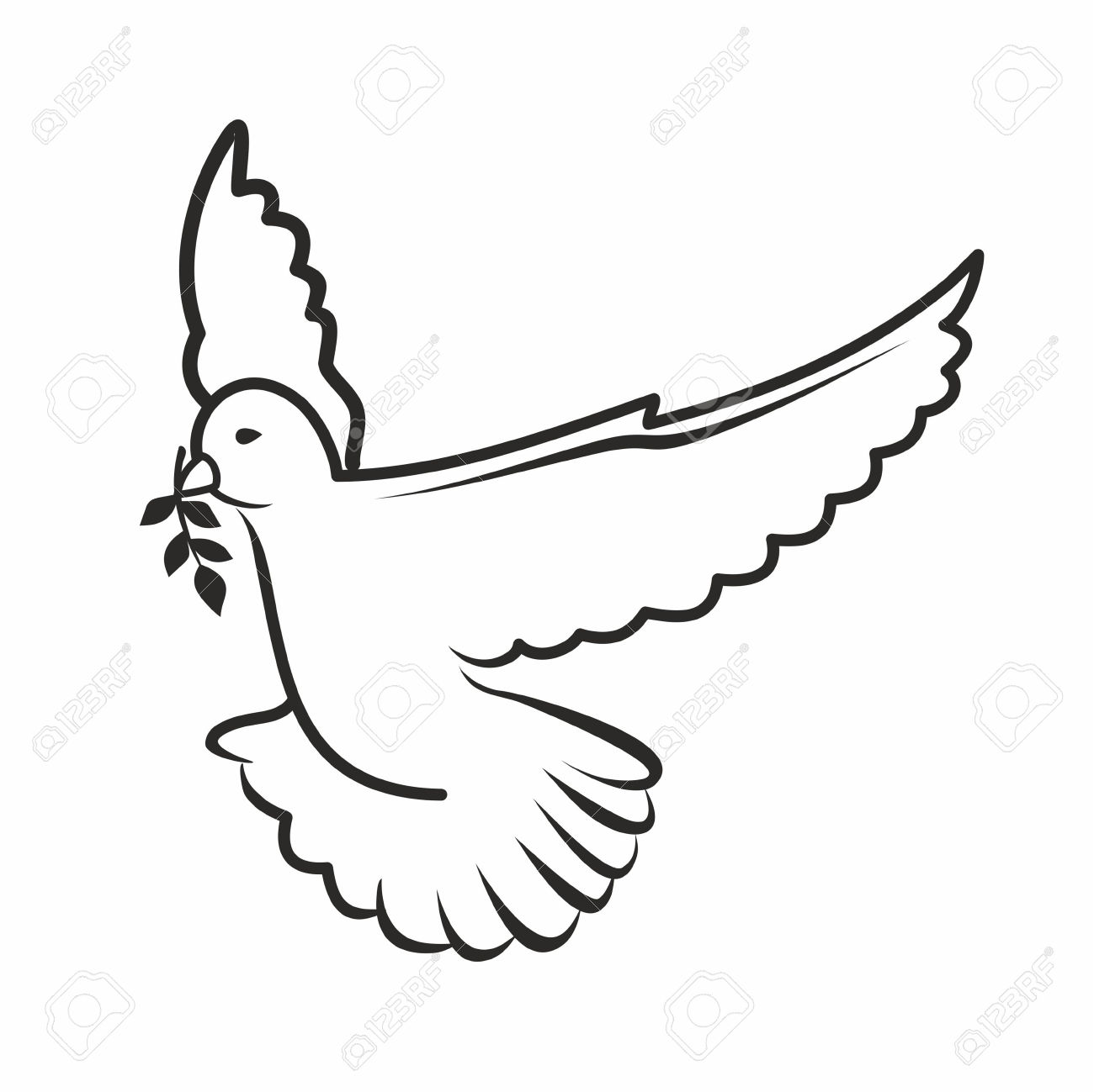 Black Outline Of A Dove Royalty Free Cliparts Vectors And Stock
