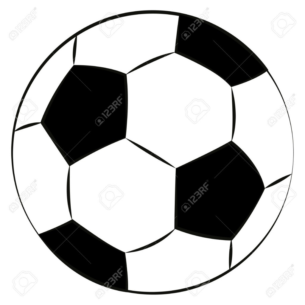 Black Outline Vector Football On White Background Royalty Free
