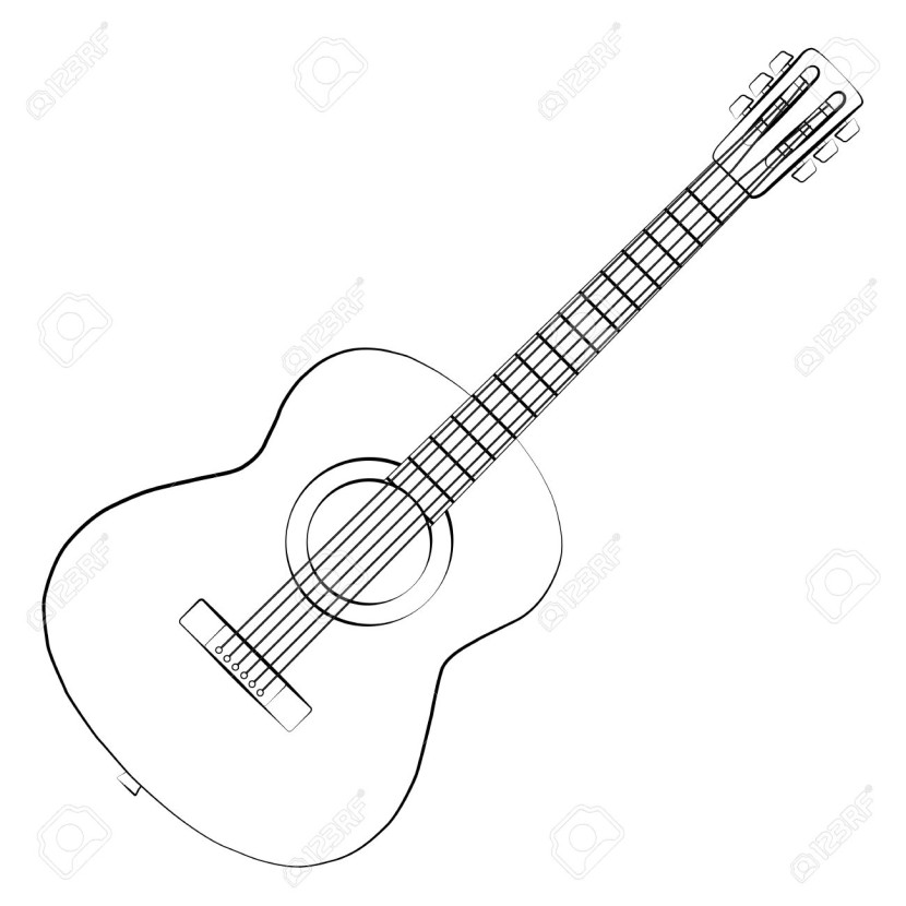 Black Outline Vector Guitar On White Background Royalty Free
