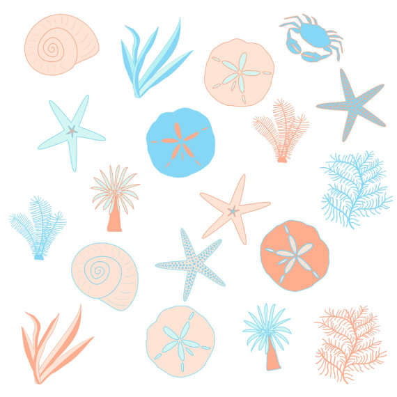Blue And Peach Sea Beach Clip Art Set Digitalaprilhovjacky