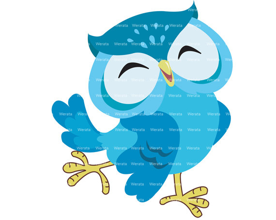 Blue Owl Clip Art Digital Clipart Cute Owl Digital Clipwerata