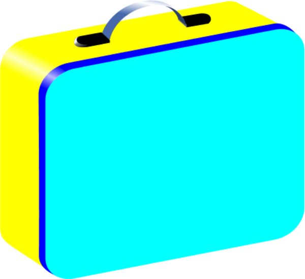 Blue Yellow Red Lunchbox Vector Clip Art