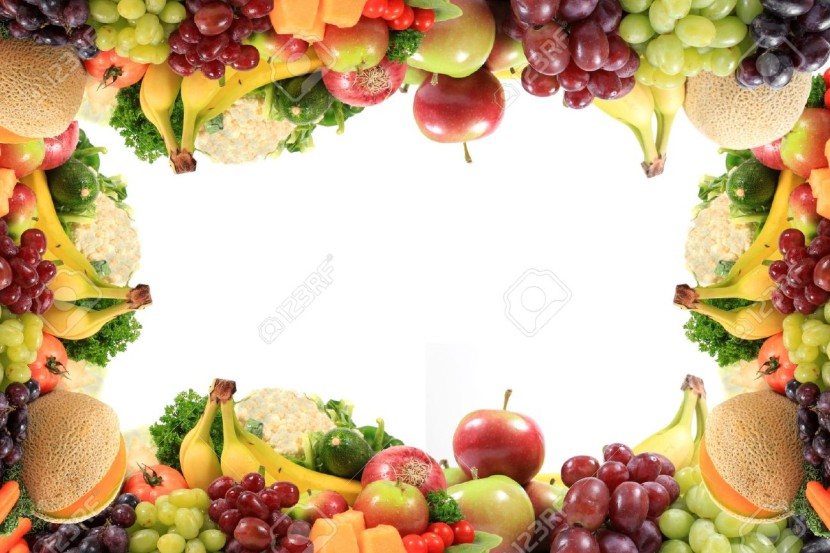 Border Or Frame Of Colorful Fruits And Vegetables Like Grapes