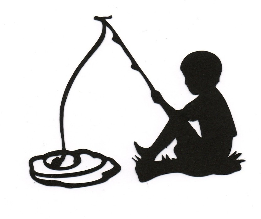 Boy Child Fishing Silhouette Die Cut Forsimplymadescrapbooks