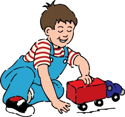 Boy Playing With Toy Truck Clip Art Free Vector In Open Office